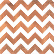 Premium Quality Beverage Napkins - Chevron Rose Gold