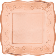 Elegant Rose Gold Square Plates/ 8 Count