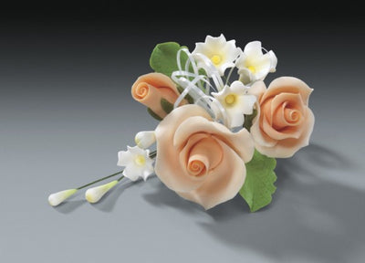 Gum Paste - Cake Topper - Peach Rose Cascade 4.5