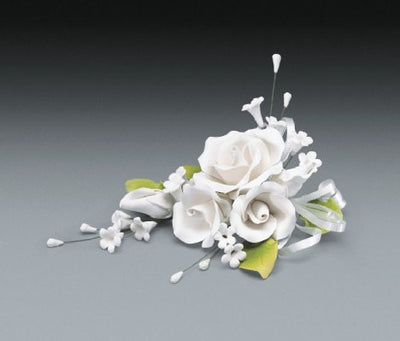 Gum Paste - Cake Topper - White Rose Spray - 7