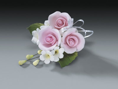 Gum Paste -Cake Topper - Pink Rose Spray 4