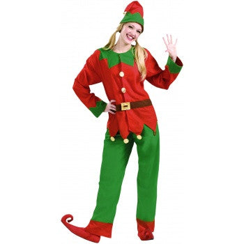 Red and Green Unisex Christmas Elf Costume