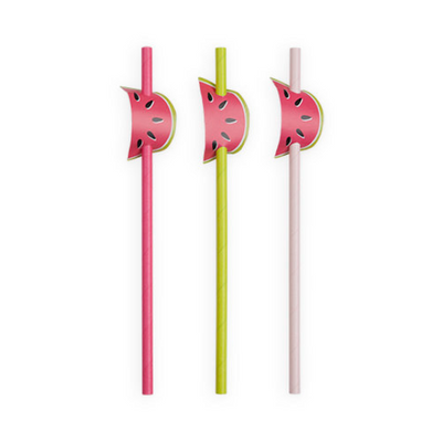 Watermelon Party Straws - 12 Count