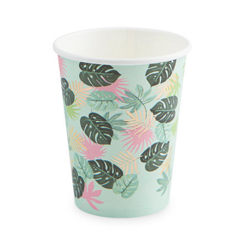 Tropical Leaves Cup/ 9 oz. 8 Count