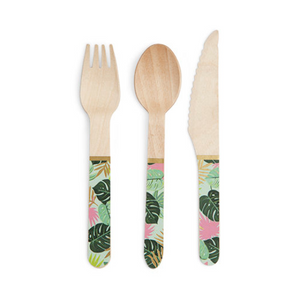 Tropical Leaves Wooden Flatware/ 24 Piece