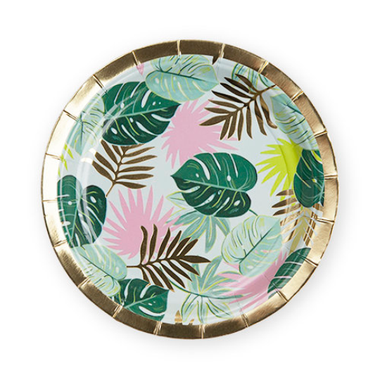 Tropical Leaves Dessert Plates/ 8 Count/ 7""