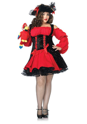 Plus Size Red Vixen Pirate Wench Costume