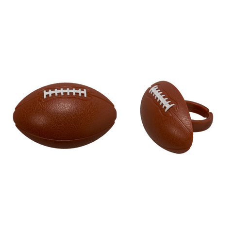 3-D Football Rings - Cupcake Topper/12 Count