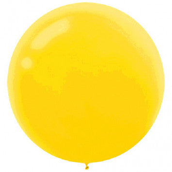 24 Inch Round Yellow Latex Balloon 4 pack