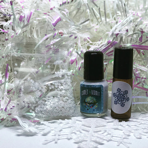 Snow Flake Set from Comet Comforts! Minty mini polish and roll-on duo!