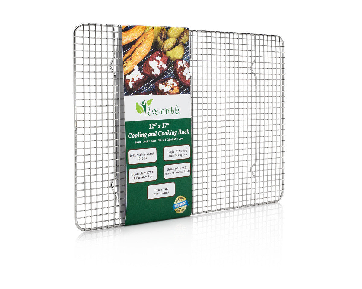 Live-Nimble Premium 100% Stainless Steel Cooling Rack Also Cooks, Roasts, Grills to 575 F. Heavy Duty Wire Grid Cools Cookies Perfectly. Fits Half Sheet Baking Pan. 12x17 inch