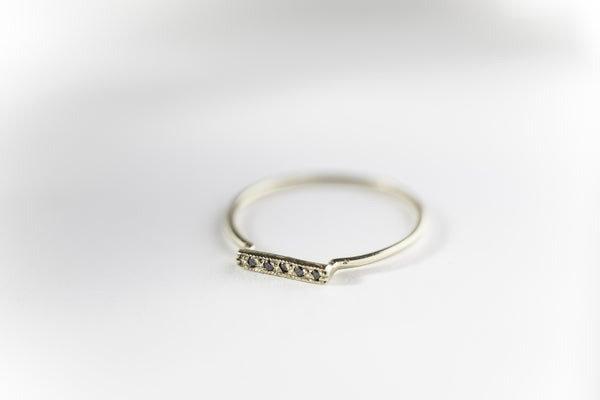 Blanca Gomez Black Diamond Bar Ring