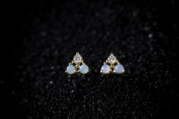 WWAKE Tri-Opal and Diamond Earrings