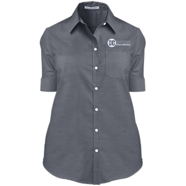 Usher Ministry Ladies' Short Sleeve Oxford Shirt