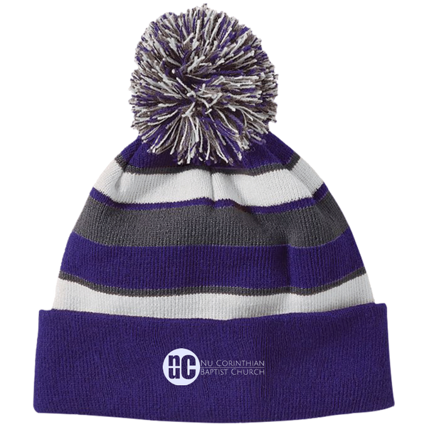 NuCBC NuCBC Striped Beanie with Pom