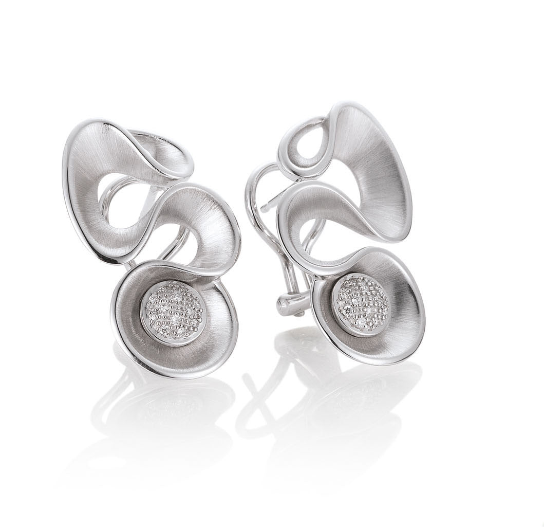 Modern Design Sterling Silver and White Sapphire Earrings