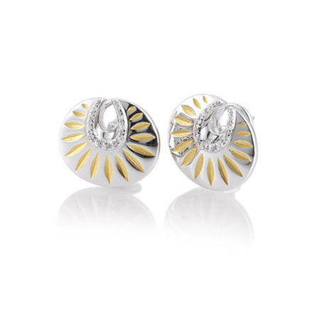 Art Deco Sterling Silver Earrings with Gold Vermail and White Sapphires