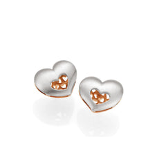 Sterling Silver with 14k Rose Gold Accents Heart Earrings by Breuning