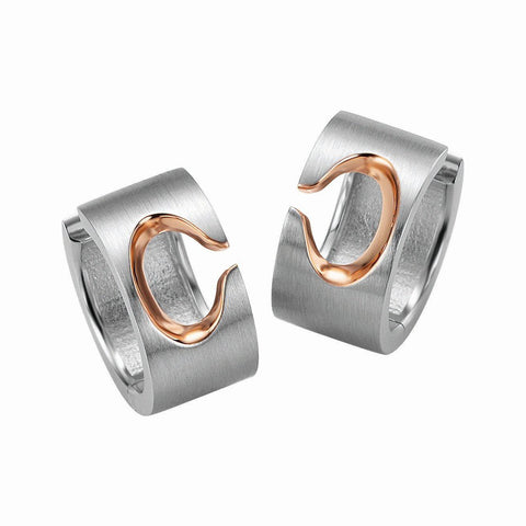 Sterling Silver and Rose Gold Hoop Earrings