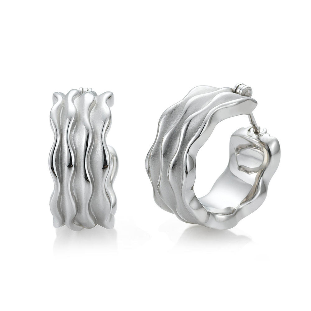 Sterling Silver and Rippled Hoop Earrings by Breuning
