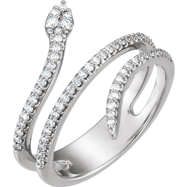 Designer Snake Shaped White Gold Diamond Ring In Negative