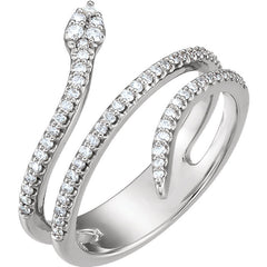 Snake Diamond Ring in White Gold