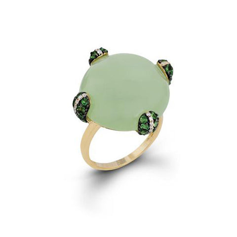 Zeghani Green Chalcedony, Diamonds, and Tsavorite  14k Yellow Gold Fashion Ring