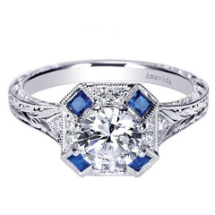 Amavida Platinum Engagement Mounting with Sapphires