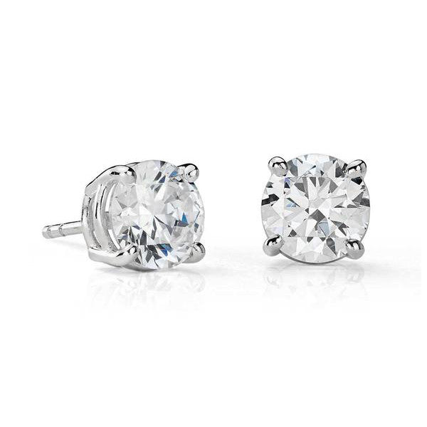 Three Quarter Carat Round Diamonds Stud Earrings