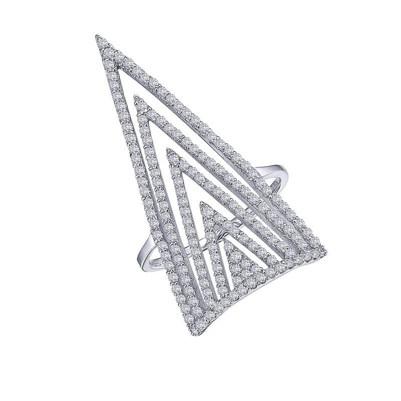 Geometric ring simulated diamonds in sterling silver bonded with platinum by Lafonn