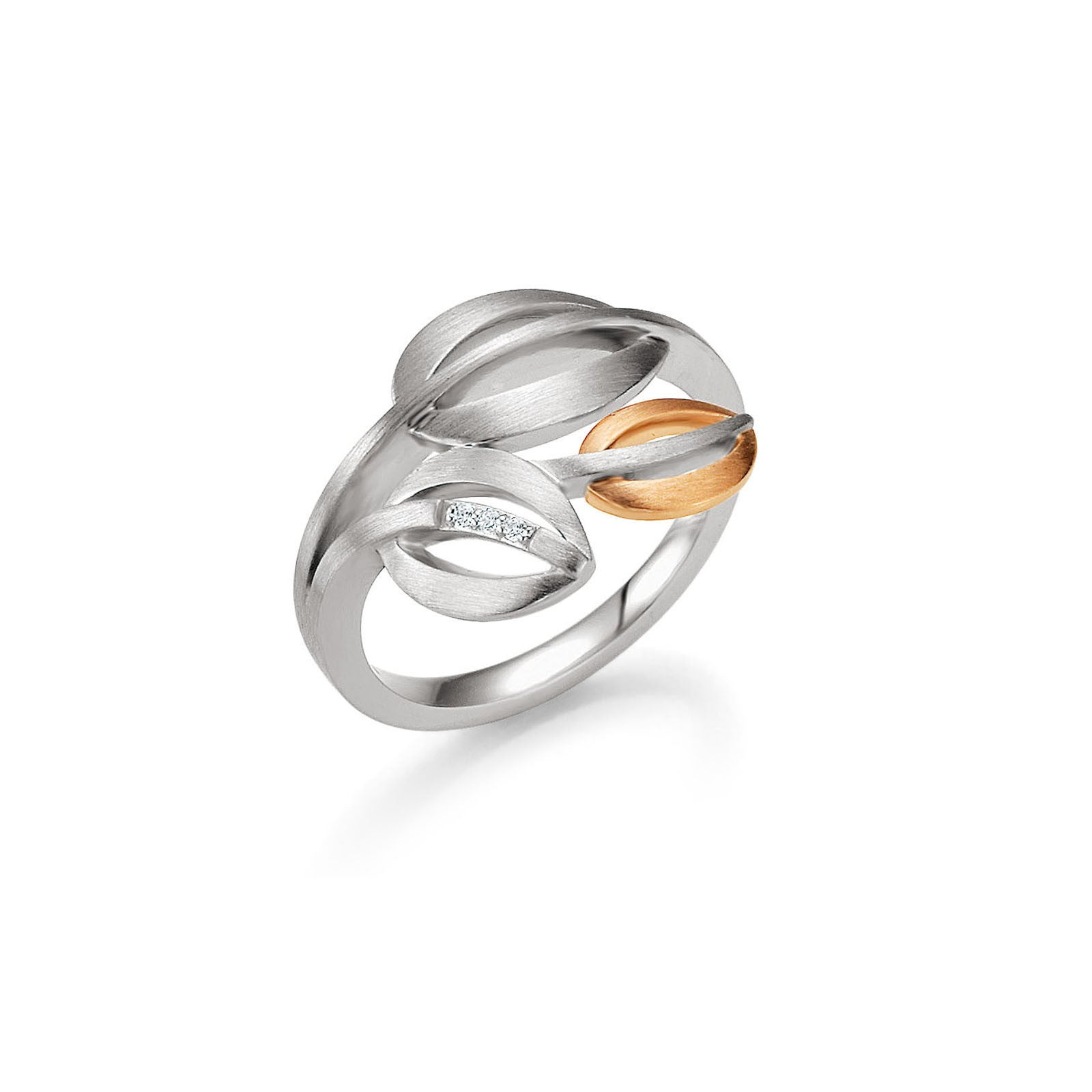 Sterling Silver, White Sapphire and 14k Rose Gold Accent Ring by Breuning