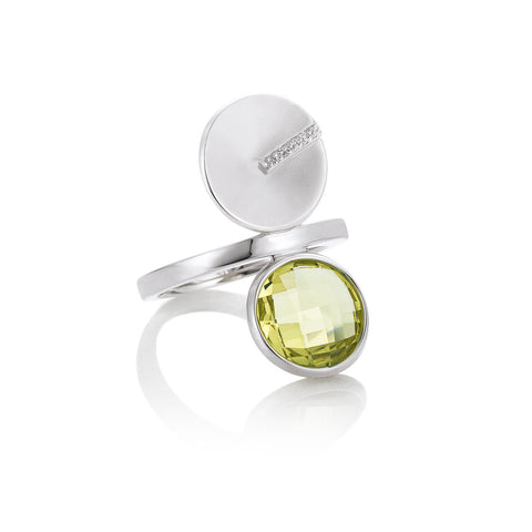 Sterling Silver and Lime Green Quartz Ring with White Sapphire Accents. By Breuning