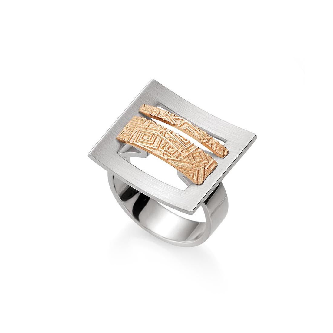 Sterling Silver Open Space Geometric Ring with 14k Rose Gold Accents