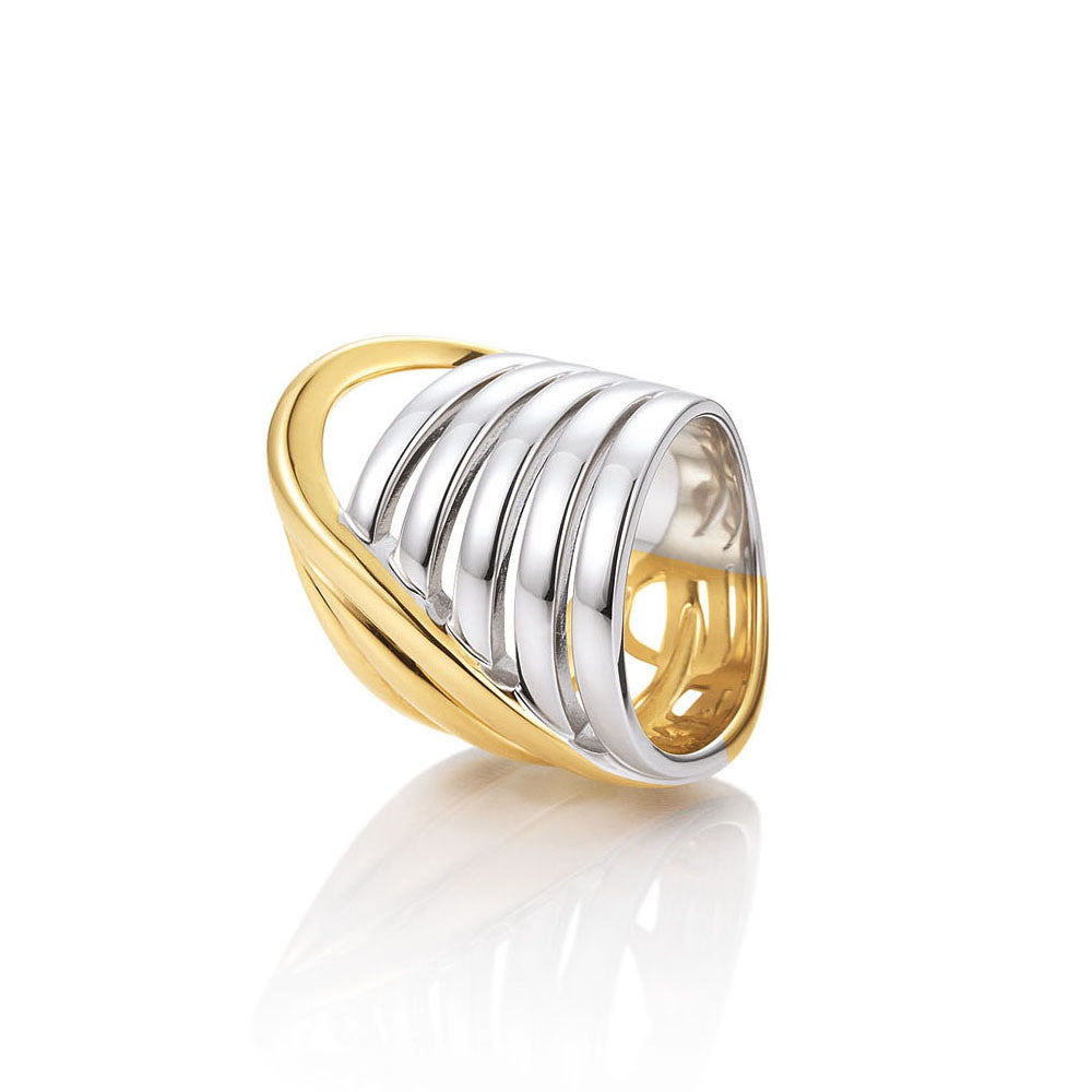 Sterling Silver and Yellow Gold Fashion Band by Breuning