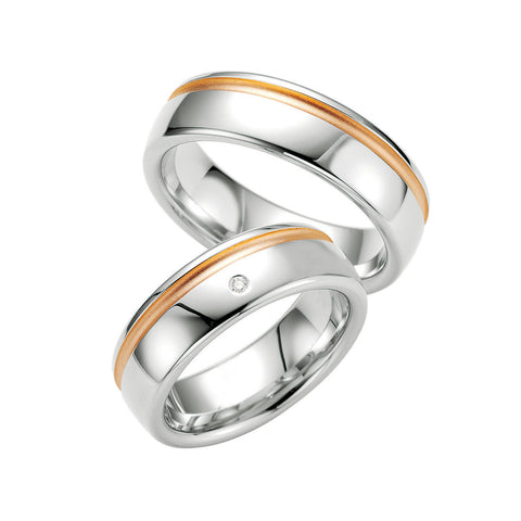 Men's Sterling Silver, Diamond and Rose Gold Wedding Band