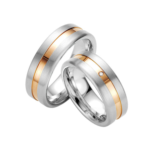 Breuning Gents Sterling Silver, Diamond and Yellow Gold Accent Wedding Band