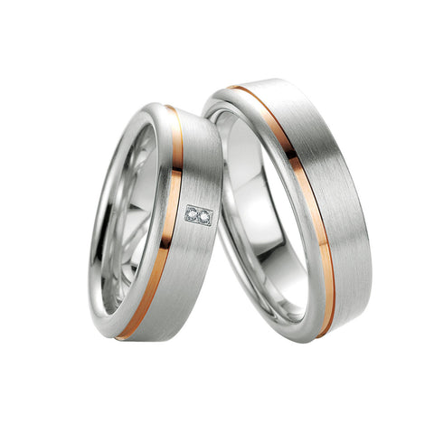 Breuning Men's Sterling Silver, Diamond and Yellow Gold Accent Wedding Band