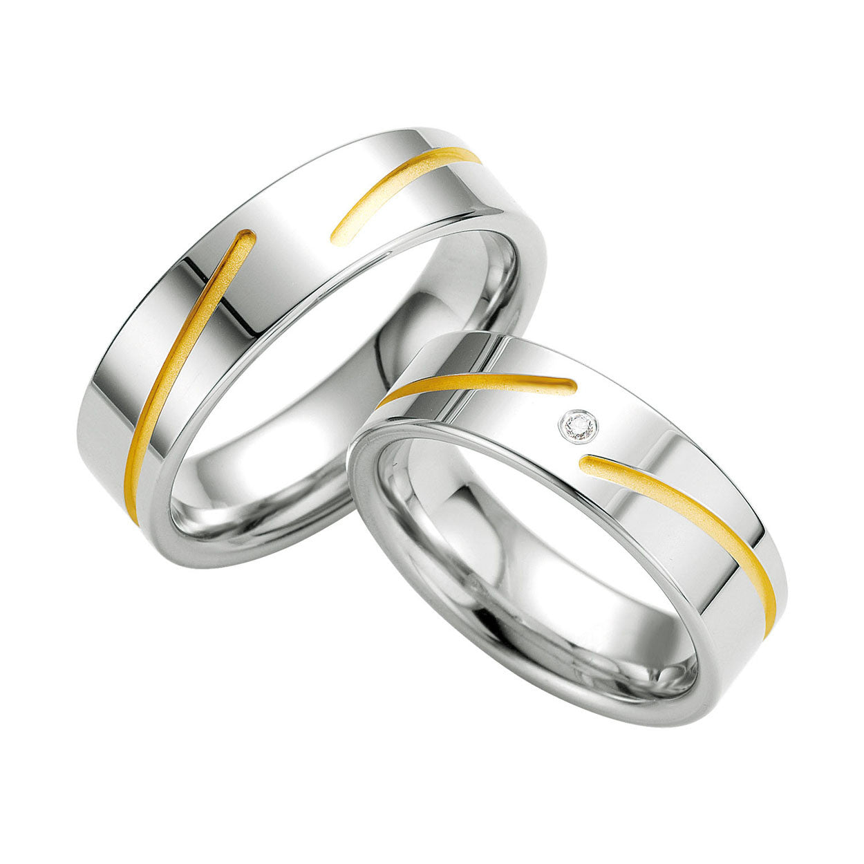 Menu0027s Sterling Silver, Diamond And Yellow Gold Accent Wedding Band
