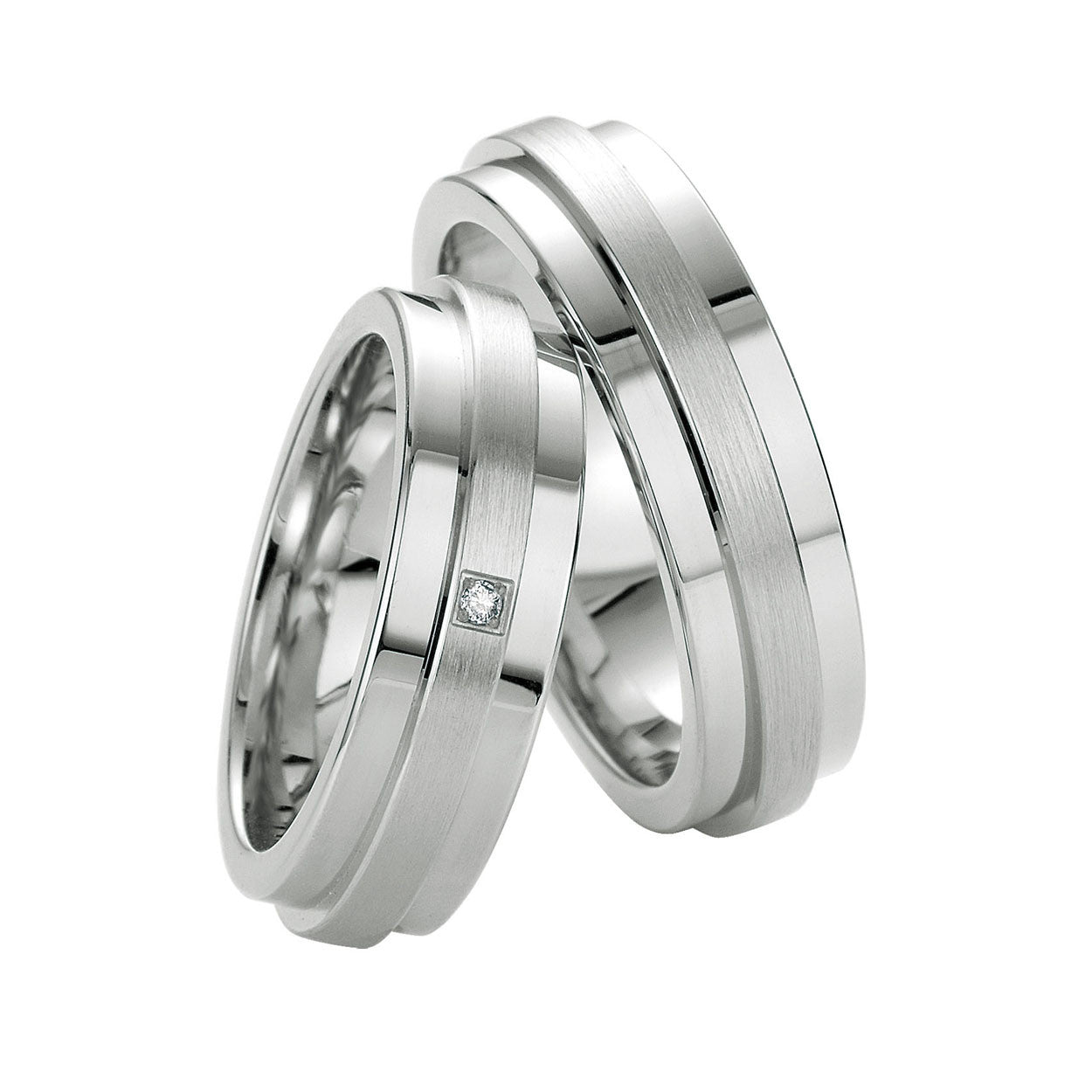 Breuning Mens Sterling Silver and Diamond Accent Wedding Band