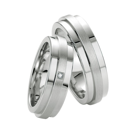 Breuning Men Sterling Silver and a Diamond Accent Wedding Band