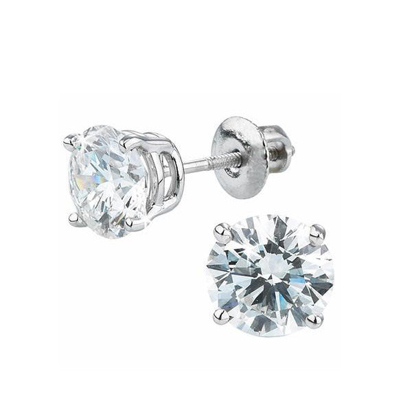 Two Thirds Carat Round Brilliant Diamonds Studs