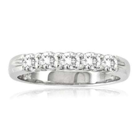 Five Stone Shared Prong Diamond Band in White Gold