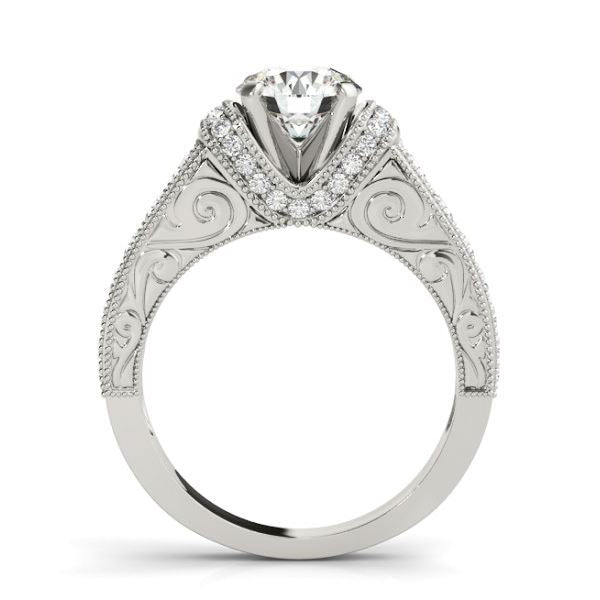 Vintage Inspired Diamond Engagement Ring with Pave Channels