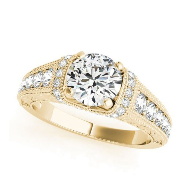 Yellow Gold Vintage Inspired Diamond Engagement Ring