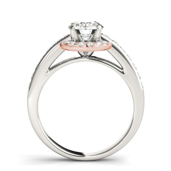 Two Tone Rose Gold Diamond Halo Engagement Ring Mounting