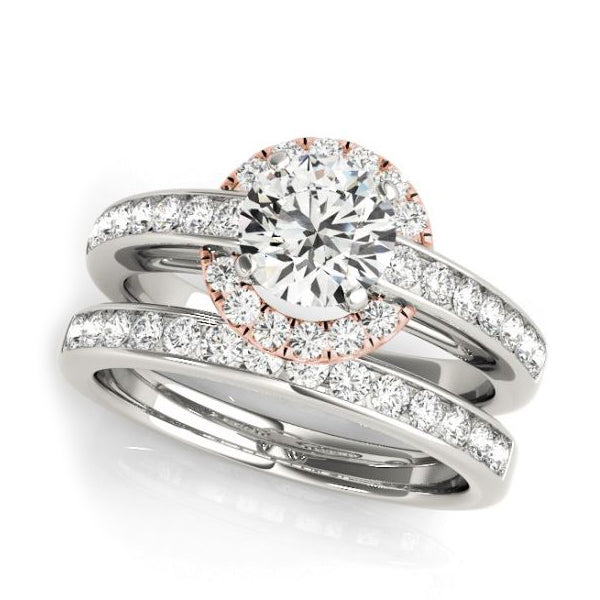 Halo Diamond Engagement Ring with White and Rose Gold