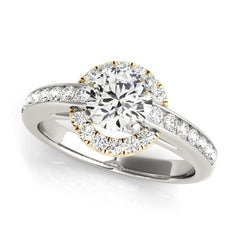 Halo Diamond Engagement Ring with White and Yellow Gold