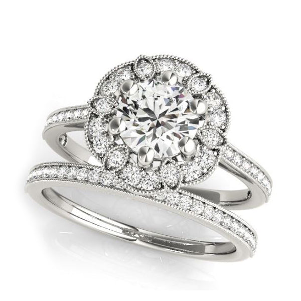 Designer Florette Diamond Halo Women Engagement Ring in White Gold With Matching Ladies Wedding Band
