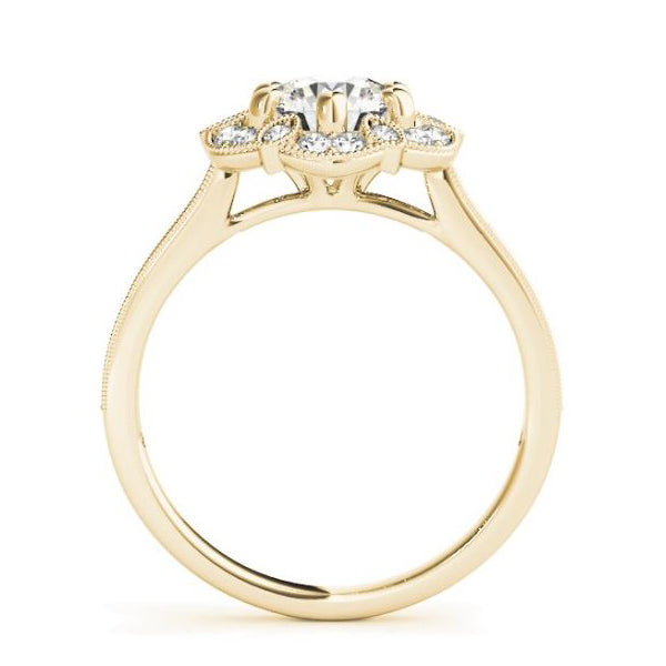 Designer Florette Shaped Diamond Halo Engagement Ring in Yellow Gold Side View