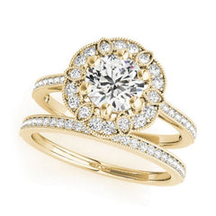 Designer Florette Shaped Diamond Halo Engagement Ring in Yellow Gold With A Matching Ladies Wedding Band